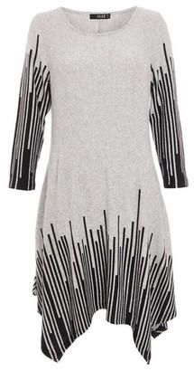 Dorothy Perkins Womens Quiz Light Grey Stripe Print Pattern Knit Hanky Hem Dress