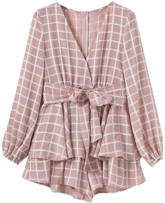 Goodnight Macaroon 'Candis' Tied Waist Frilled Romper (4 Colors)