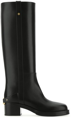 Valentino VLogo-Detailed Block-Heel Boots
