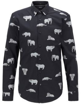 BOSS Slim-fit shirt in Italian cotton with collection motifs