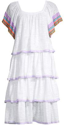 Pitusa Boho Embroidered Trim Tiered Ruffle Dress