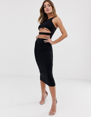 Asos Design DESIGN going out underboob bodycon midi dress-Black