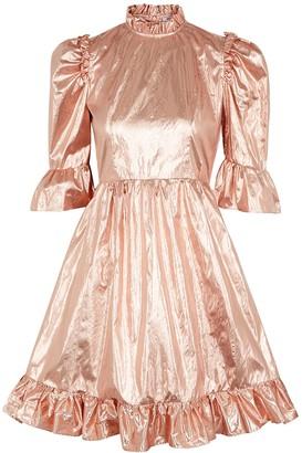 Batsheva Rose Gold Ruffle-trimmed Lame Dress