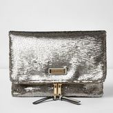 River Island Womens Silver sequin fold over clutch bag