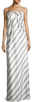 Halston Striped Strapless Knot-Front Gown, White/Black