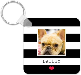 Shutterfly Simply Chic Heart Monogram Key Ring, Square, ,Adult Unisex