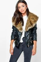 Boohoo Bethany Boutique Faux Fur Trim Zip Biker Jacket