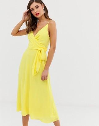 Asos Design DESIGN cami wrap midi dress with tie waist-Yellow