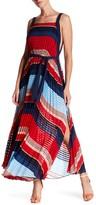 Gracia Pleated Colorblock Maxi Dress