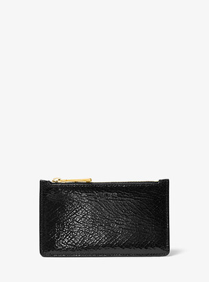 Michael Kors Small Crackled Metallic Leather Card Case