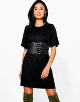 Boohoo 2 In 1 Corset Belt T-shirt Dress