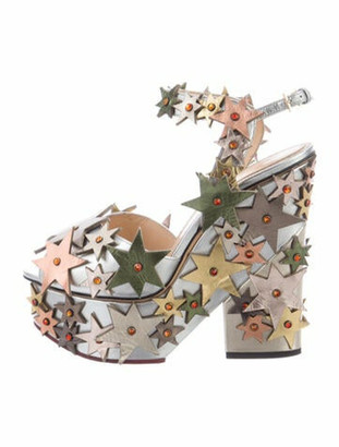 Charlotte Olympia Leather Graphic Print Sandals Silver