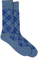 Barneys New York Men's Diamond-Pattern Cotton-Blend Trouser Socks