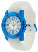 Gossip White Silicone Strap Watch with Metallic Color Case