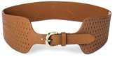 Linea Pelle Women's Wide Perforated Belt with Stretch Back - Tan