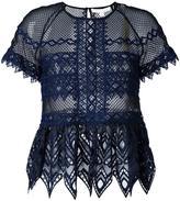 Jonathan Simkhai cut-off detailing sheer blouse - women - Polyester/Spandex/Elastane - 4