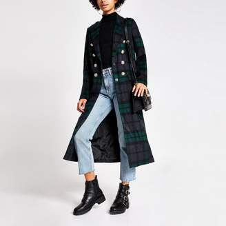 River Island Womens Navy tartan check button front longline coat
