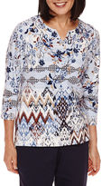 Alfred Dunner 3/4-Sleeve Diamond-Print Top