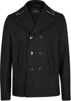 Valentino Rockstud Black Wool Peacoat