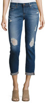 AG Adriano Goldschmied Stilt Roll-Up Cropped Distressed Jeans, Medium Blue
