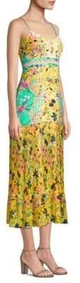 Saloni Veronica Floral Silk Midi Dress