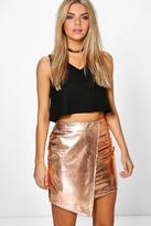 Boohoo Brea Asymetric Metallic Leather Look Mini Skirt