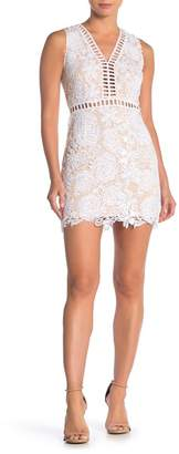 Love by Design Plunge V-Neck Lace & Lattice Mini Dress