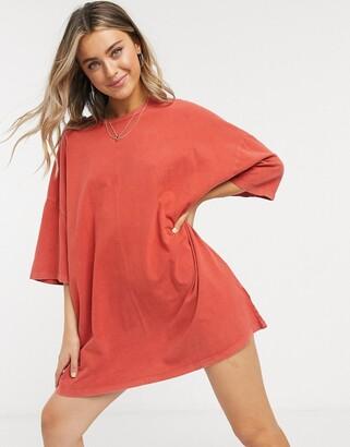 ASOS DESIGN oversized T-shirt dress in burnt orange