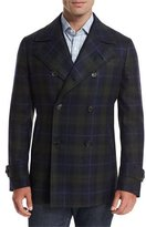 Isaia Plaid Wool-Cashmere Pea Coat, Navy/Green