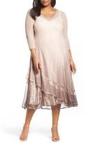 Komarov Plus Size Women's Embellished Ombre Lace & Chiffon A-Line Dress