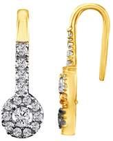 Jewel Zone US Round Cut Diamond Dangle Earrings Solid 10K Gold (1/4 cttw)