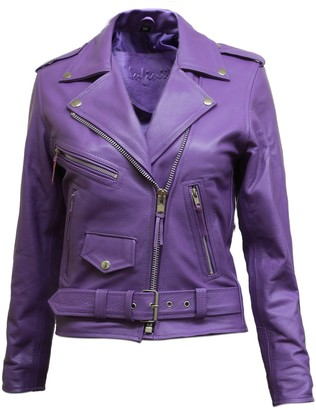 BRANDSLOCK Ladies Leather Biker Jacket Brando Casual Soft Real Sheepskin Leather Jacket (XL