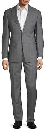 Calvin Klein Extra Slim Fit Windowpane Plaid Wool Suit