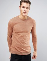 Asos Crew Neck Sweater in Orange Twist Cotton