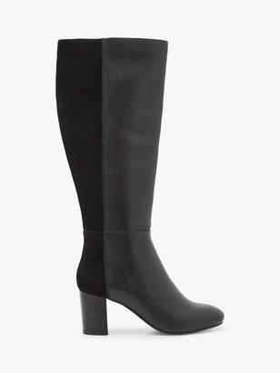 White Stuff Harper Leather Heeled Knee Boots, Black