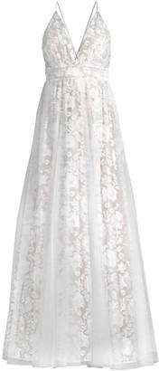 Aidan Mattox Embroided Floral Mesh Gown