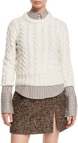Michael Kors Cable-Knit Cashmere Sweater, White