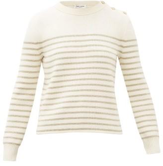 Saint Laurent Metallic Lurex-striped Sweater - Womens - Ivory