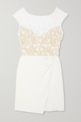 Rime Arodaky Eleonora Embroidered Tulle And Crepe Mini Dress - White