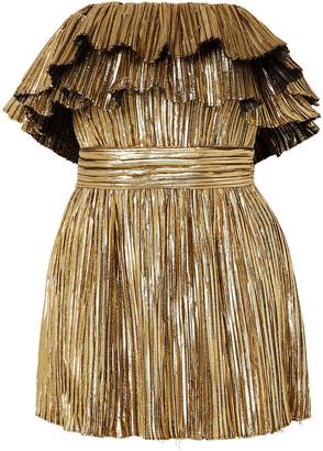 Saint Laurent Strapless Ruffled Pleated Lame Mini Dress