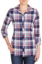 Peter Nygard Petite Long Sleeve Hi-Low Hem Plaid Knit Chiffon Shirt