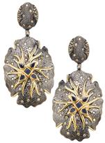 Artisan 18K Gold, Blue Sapphire & 1.11 Total Ct. Diamond Woodland Earrings