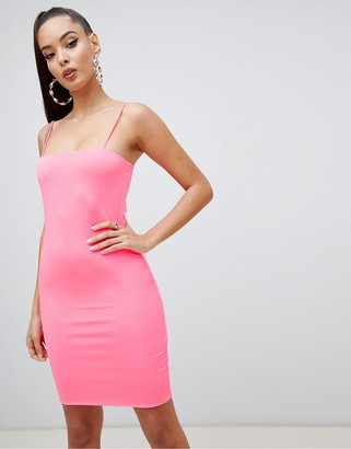 Asos Design DESIGN mini neon slip dress-Pink