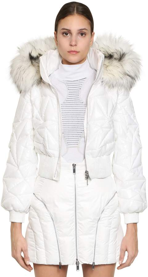 Byblos Quilted Pvc Bomber Jacket