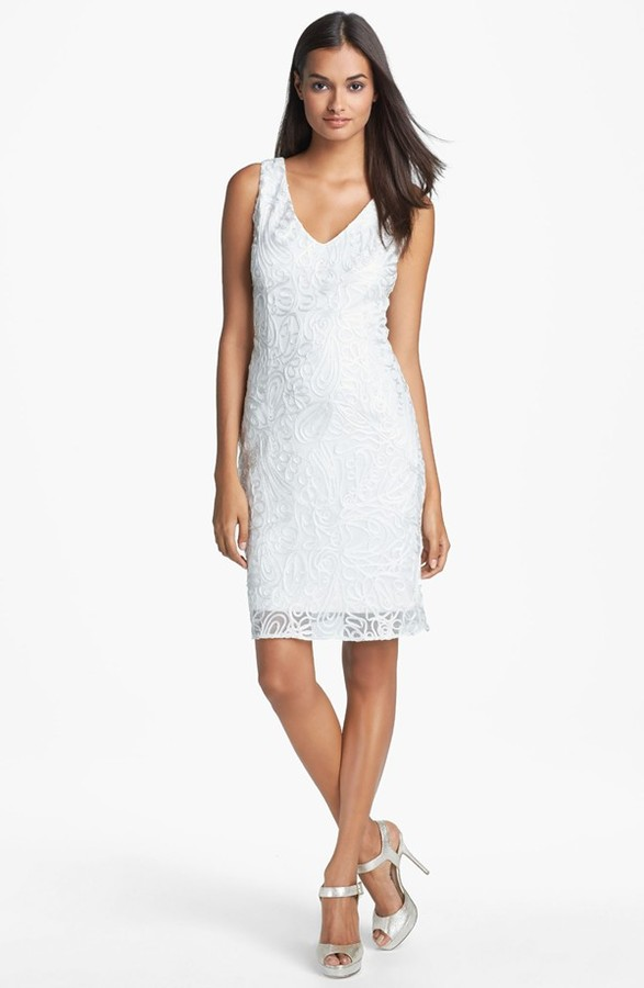 Adrianna Papell Embroidered Sheath Dress (Online Only)