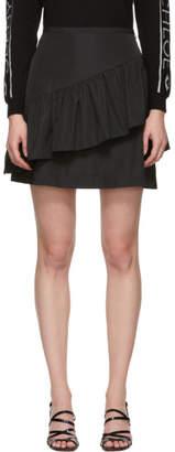 See by Chloe Black Taffeta Ruffle Miniskirt