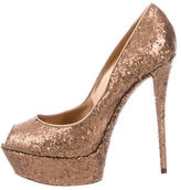 Casadei Glittered Platform Pumps