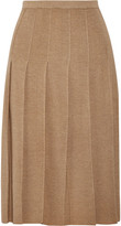 Tomas Maier Pleated Wool Midi Skirt - Mushroom