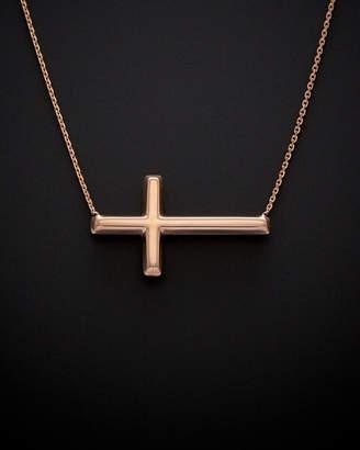 14K Italian Rose Gold Sideways Cross Necklace
