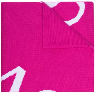 Versace Intarsia-Knit Lettered-Logo Scarf